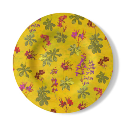 Summer Geranium Pattern Decorative Plate