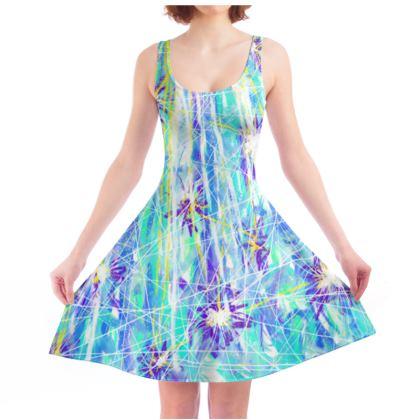 Aqua Blue Starburst Skater Dress