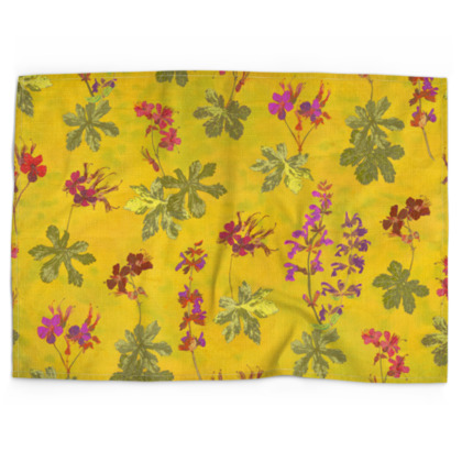 Summer Geranium Pattern Tea Towel