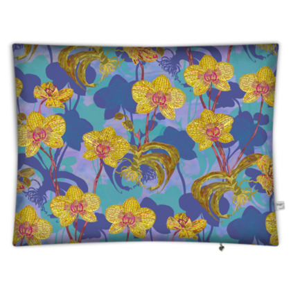 Tropical Orchids Rectangular Floor Cushion