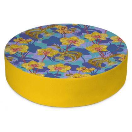 Tropical Orchids Round Floor Cushion