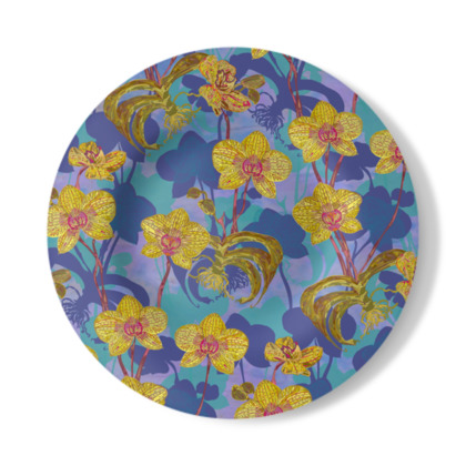 Tropical Orchids Decorative Plate