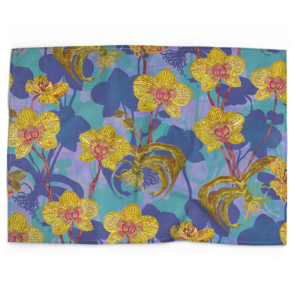 Tropical Orchids Tea Towel