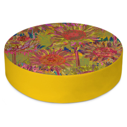 Sunflowers Round Floor Cushion