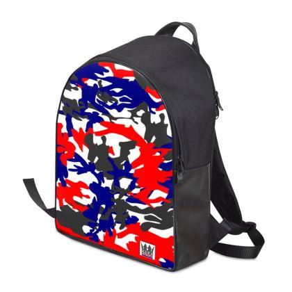 Designer Leather & Camo Backpack