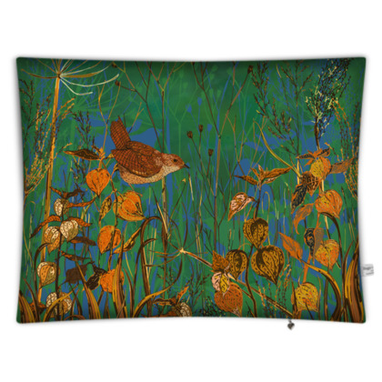 Wren and Physalis Rectangular Floor Cushion