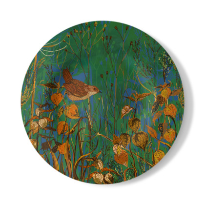 Wren and Physalis Decorative Plate