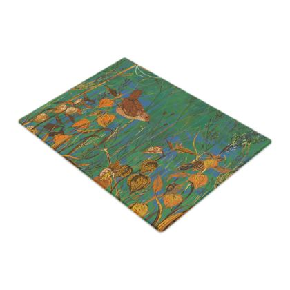 Wren and Physalis Glass Chopping Board