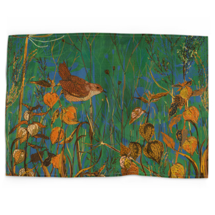 Wren and Physalis Tea Towel