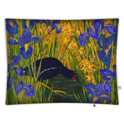 Iris and Moorhen Rectangular Floor Cushion