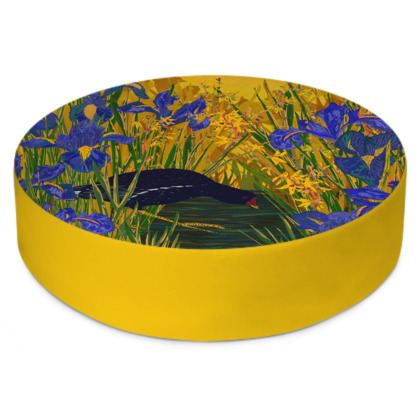 Iris and Moorhen Round Floor Cushions