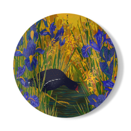 Iris and Moorhen Decorative Plate