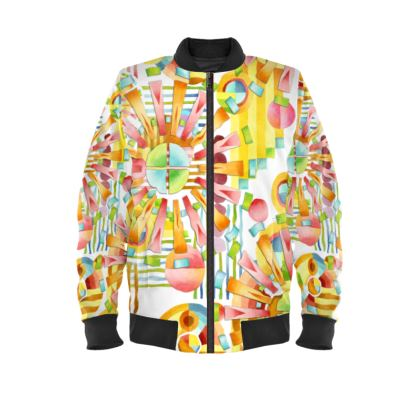 Art Deco Fireworks Ladies Bomber Jacket