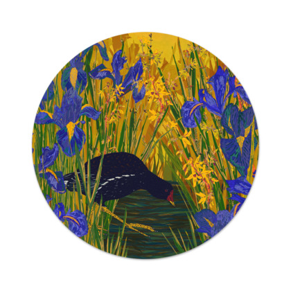 Iris and Moorhen Serving Platter