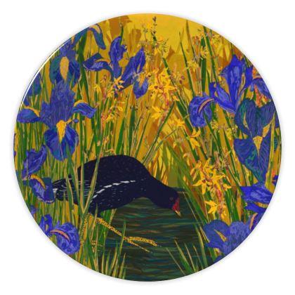 Iris and Moorhen China Plate