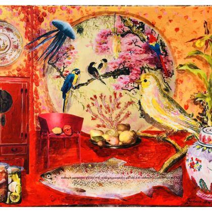 234,- Schale in CHINA RED 234,- Schüssel BIG DESIGNER BOWL, stonemax 39 cm Durchmesser