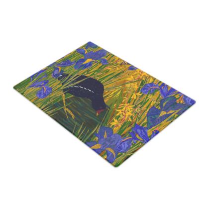 Iris and Moorhen Glass Chopping Board