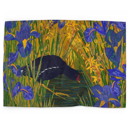 Iris and Moorhen Tea Towel