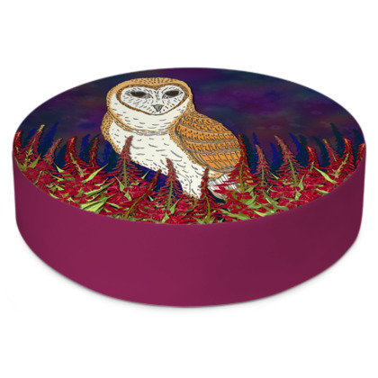 Fireweed Barn Owl Round Floor Cushions