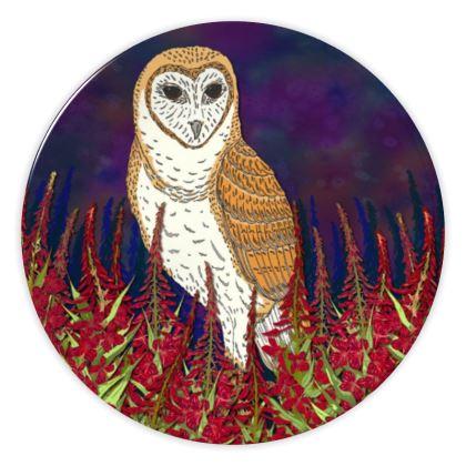Fireweed Barn Owl China Plate