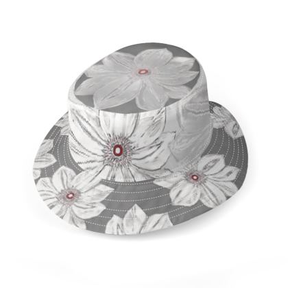 Grey and white floral large brim bucket hat