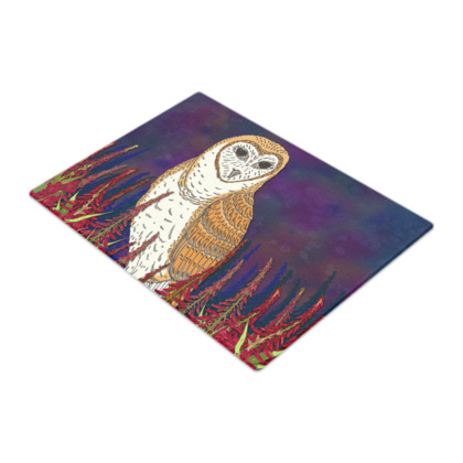 Fireweed Barn Owl Glass Chopping Board