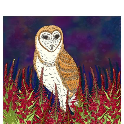 Fireweed Barn Owl Fabric Placemat