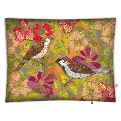 Sweet Sparrows and Briar Rose Rectangular Floor Cushion