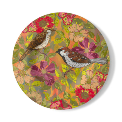 Sweet Sparrows and Briar Rose Decorative Plate