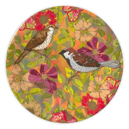 Sweet Sparrows and Briar Rose China Plate