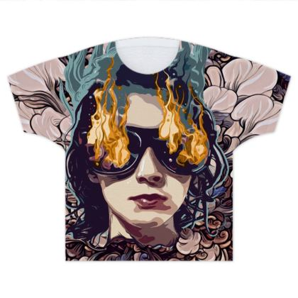 The Girl on Fire Kids T Shirts