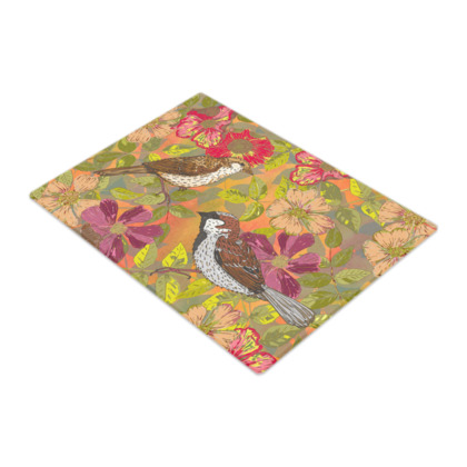 Sweet Sparrows and Briar Rose Glass Chopping Board