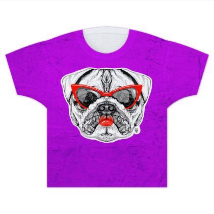 Lady Pug Kids T Shirts