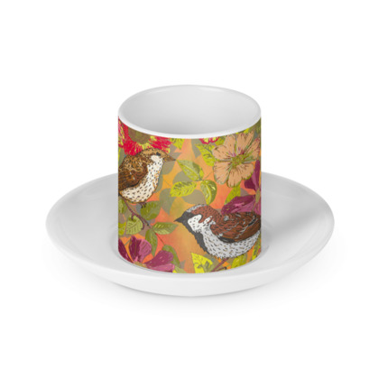 Sweet Sparrows and Briar Rose Cup