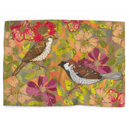 Sweet Sparrows and Briar Rose Tea Towel