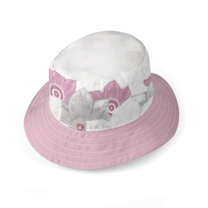Wide brim pink white and grey floral bucket hat
