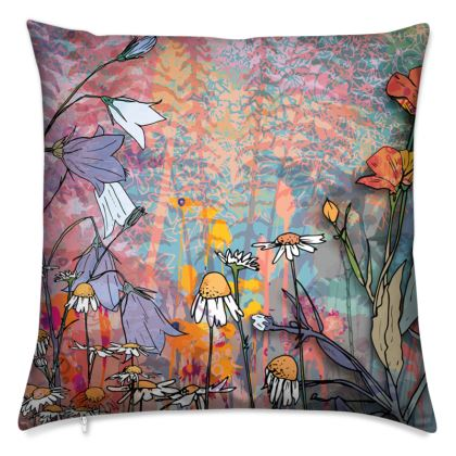 'Daisy, Harebell and Buttercup' Scatter Cushion