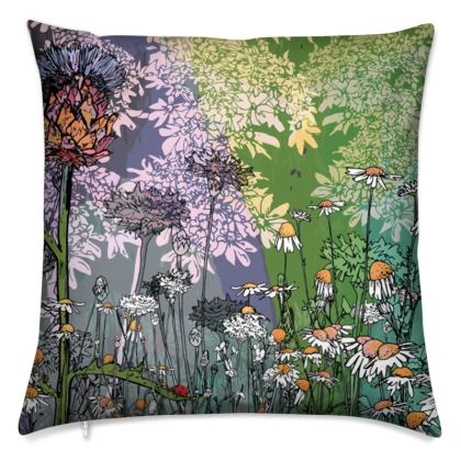 'Daisy and Thistle' Scatter Cushion