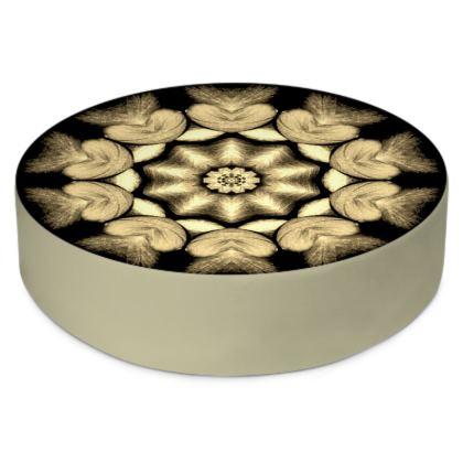 Brown beige abstract mandala heart flower Round Floor Cushions
