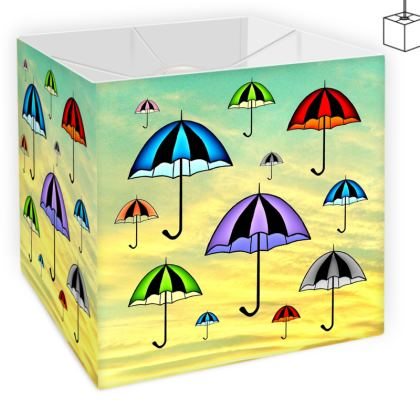 Colorful Summer Umbrellas On Yellow Green Background  Square Lamp Shade