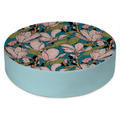 Magnificent Magnolias Round Floor Cushion