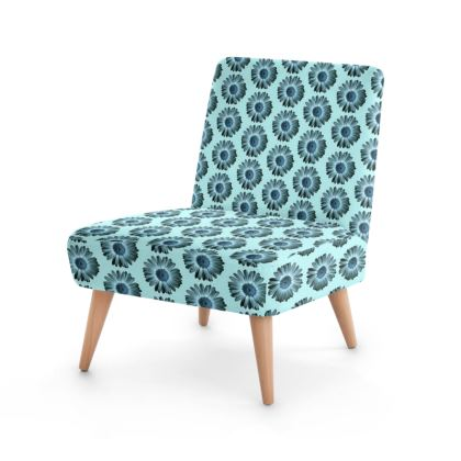 Turquoise blue daisy blossoms  Occasional Chair