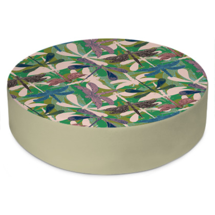 Dancing Dragonflies Round Floor Cushion