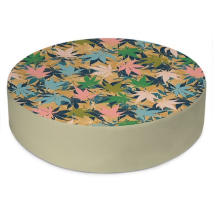 Maple Leaves Round Floor Cushion