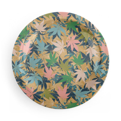 Dragonflies and Maple Leaves Party Plate Set