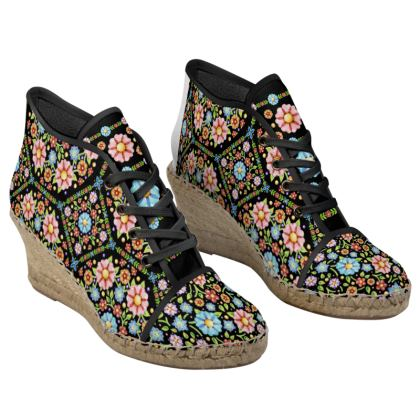 Millefiori Floral Ladies Wedge Espadrilles