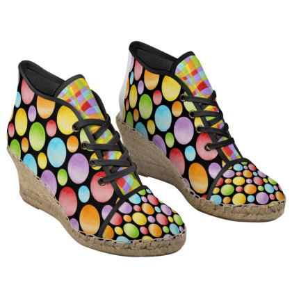 Rainbow Polka Dots Ladies Wedge Espadrilles
