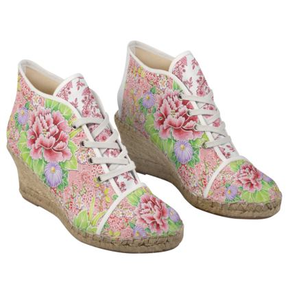 Pink Victoriana Ladies Wedge Espadrilles