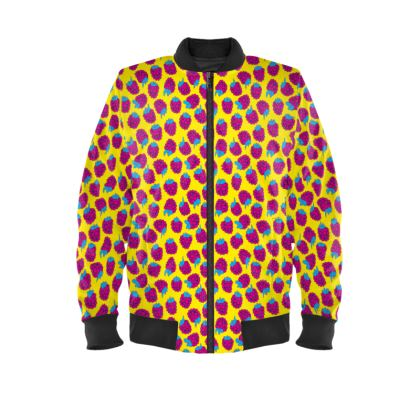 Pink Raspberry Waltz Ladies Bomber Jacket In Bright Yellow