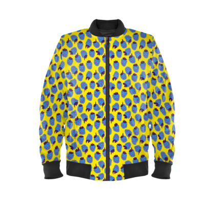 Blue Raspberry Waltz Mens Bomber Jacket In Bright Yellow